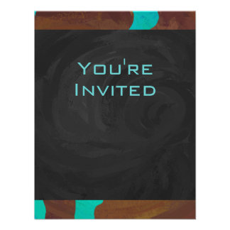 Cow Brown and Teal Print Invitation
