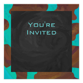 Cow Brown and Teal Print Custom Announcements