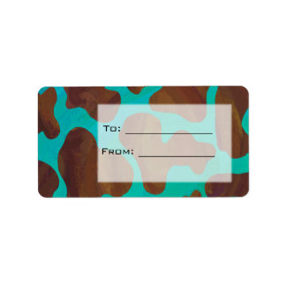 Cow Brown and Teal Print Personalized Address Labels