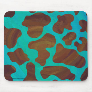 Cow Brown and Teal Print Mouse Pad