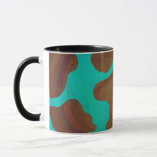 Cow Brown and Teal Print Mug