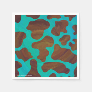 Cow Brown and Teal Print Paper Napkin