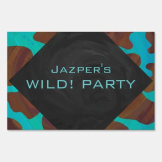 Cow Brown and Teal Print Lawn Signs