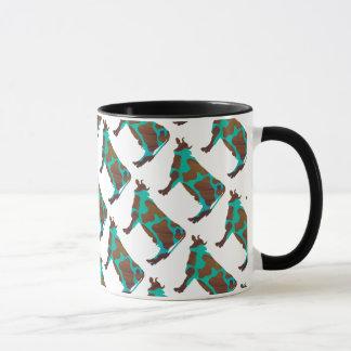 Cow Brown and Teal Silhouette Mug