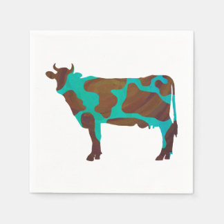 Cow Brown and Teal Silhouette Paper Napkin