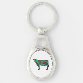Cow Brown and Teal Silhouette Silver-Colored Oval Metal Keychain