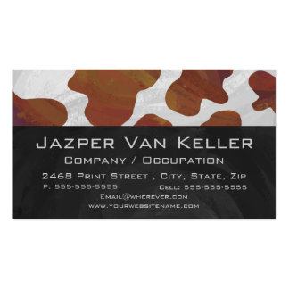 Cow Brown and White Monogram Business Card