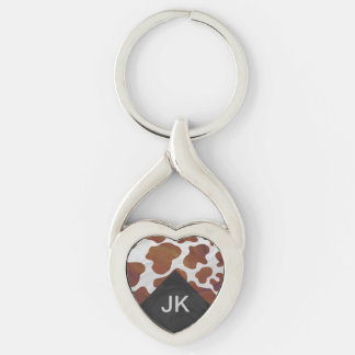 Cow Brown and White Monogram Keychain