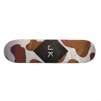 Cow Brown and White Monogram Skateboard