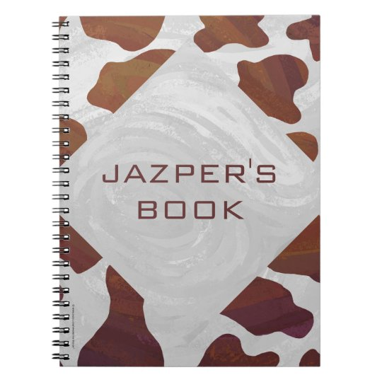Cow Brown and White Monogram Spiral Notebook
