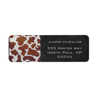 Cow Brown and White Print Return Address Labels
