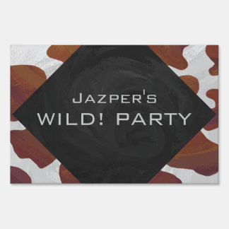 Cow Brown and White Print Lawn Signs