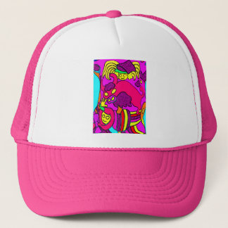 Cow/Bull and Girls Cartoon, in Pinks/Red Trucker Hat