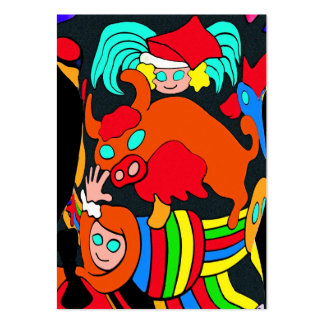Cow/Bull and Girls Childrens Cartoon, Black Back Large Business Cards (Pack Of 100)