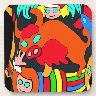 Cow/Bull and Girls Childrens Cartoon, Black Back Drink Coaster
