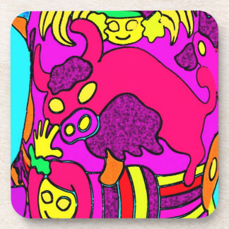 Cow/Bull and Girls Childrens Cartoon, in Pinks/Red Drink Coaster