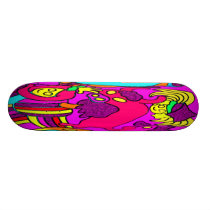 Cow/Bull and Girls Childrens Cartoon, in Pinks/Red Skateboard Deck