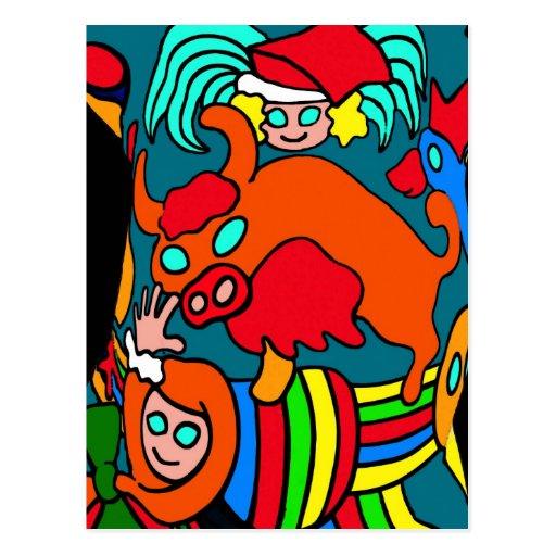 Cow/Bull and Girls Childrens Cartoon Postcard