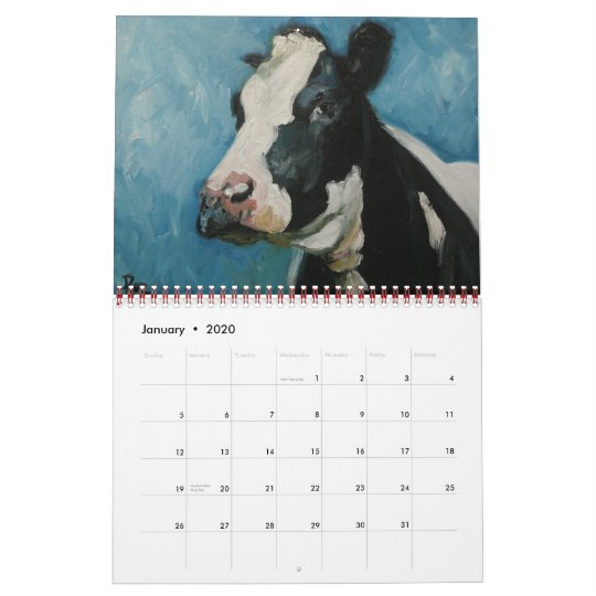 Cow Calendar January 2020 Cow Calendar | Zazzle.com