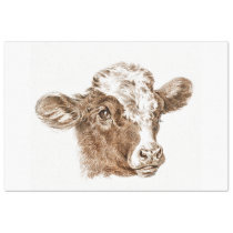 Cow Calf Ephemera Decoupage Vintage Farm Tissue Paper