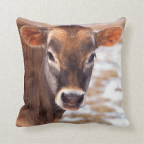 Cow Calf Face Throw Pillow