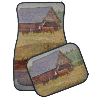Cow, Calves, Shed and Pasture Cattle Ranch Art Car Mat