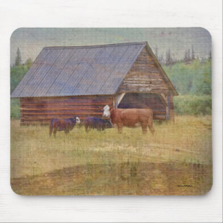 Cow, Calves, Shed and Pasture Cattle Ranch Art Mouse Pad