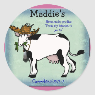 cow canning classic round sticker