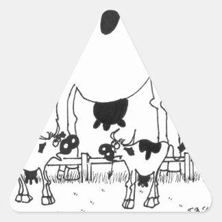 Cow Cartoon 3372 Triangle Sticker