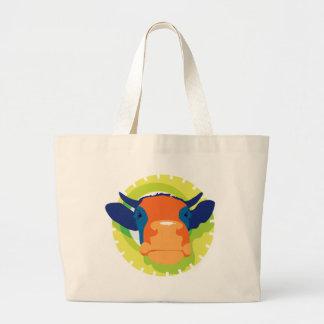 Cow Cartoon Large Tote Bag