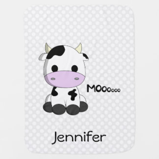 Cow cartoon on polka dots - name baby blanket
