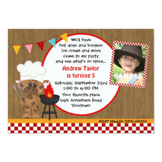 "Cow Chef BBQ Photo Birthday 5"" X 7"" Invitation Card"