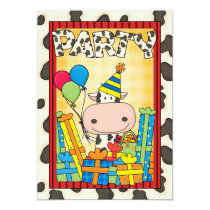 Cow - Child's Birthday Party Invitation