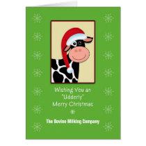 Cow Christmas Business Greeting Card-Customizable Card