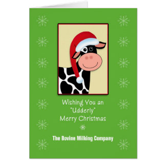 Cow Christmas Business Greeting Card-Customizable Card
