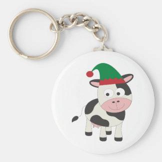 Cow Christmas Elf Keychain