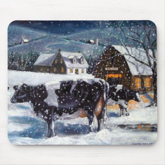 COW: CHRISTMAS EVE: SNOW: ART MOUSE PAD