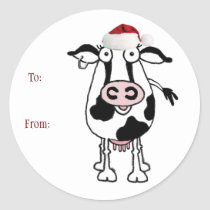 Cow Christmas Gift Sticker: To: From: Classic Round Sticker