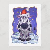 Cow Christmas Holiday Postcard