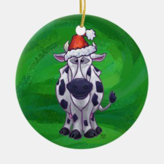 Cow Christmas On Green Ceramic Ornament
