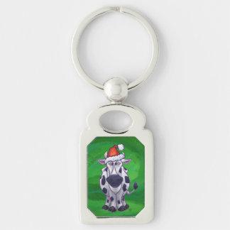 Cow Christmas On Green Keychain