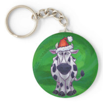 Cow Christmas On Green Keychain
