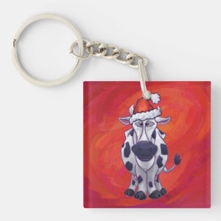 Cow Christmas On Red Keychain