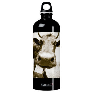 Cow Closeup Aluminum Water Bottle