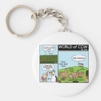 Cow Collection Basic Round Button Keychain
