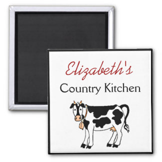 Cow Country Kitchen Personalized 2 Inch Square Magnet