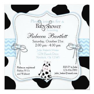 "Cow Cowboy Baby Shower Invitation 5.25"" Square Invitation Card"