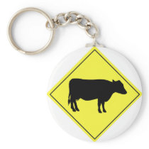 Cow Crossing Sign Keychain