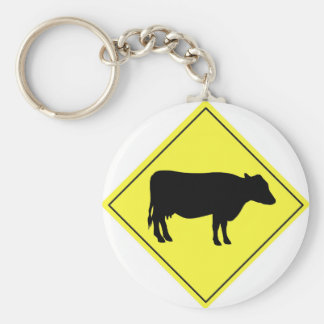 Cow Crossing Sign Basic Round Button Keychain