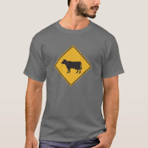 Cow Crossing Street Sign T-Shirt